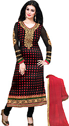 Black Choodidaar Ayesha Suit with Woven Polka Dots Suit with Embroidery