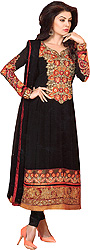 Black Choodidaar Kameez Suit with Embroidery on Neck and Patch Border