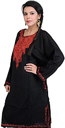 Black Kashmiri Phiran with Hand Embroidery on Neck