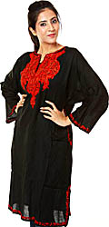 Black Kashmiri Phiran with Hand-Embroidery on Neck in Red