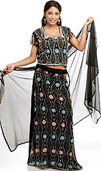 Black Lehenga Choli with Beadwork and Sequins