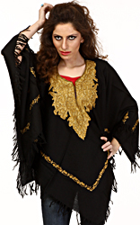Black Poncho with Ari Embroidery by Hand on Neck and Border