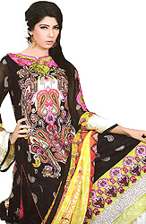 Black Printed Suit from Pakistan with Ari Embroidery