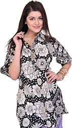 Black-White Long Floral Kurti from Pilkhuwa