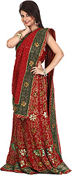 Bridal Red Lehenga Choli with Hand-Embroidered Flowers and Sequins