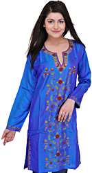 Brilliant-Blue Long Kashmiri Kurti with Ari Embroidered Flowers by Hand