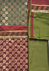 Bronze-Green and Red Banarasi Brocaded Salwar Kameez Fabric with Woven Circles and Patch Border