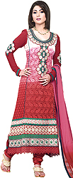 Cardinal-Red Long Choodidaar Suit with Floral Ari Embroidery and Crochet Border