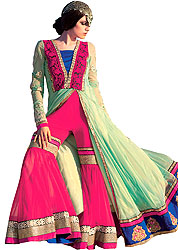 Cascade-Green and Magenta Wedding Long Sharara Suit with Ari Embroidery and Patch Border