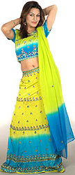 Chartreuse and Turquoise Lehenga Choli with Multi-Color Sequins