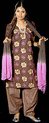 Coffee-Brown Salwar Kameez with All-Over Floral Ari Embroidery and Crystals