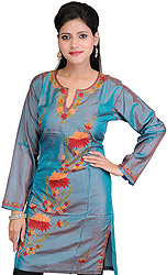 Colonial-Blue Kashmiri Kurti with Embroidered Flowers by Hand