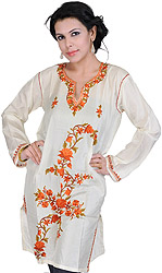 Cream Kashmiri Kurti with Embroidered Flowers by Hand