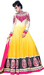 Cyber-Yellow Anarkali Designer Suit with Large Embroidered Patches on Border
