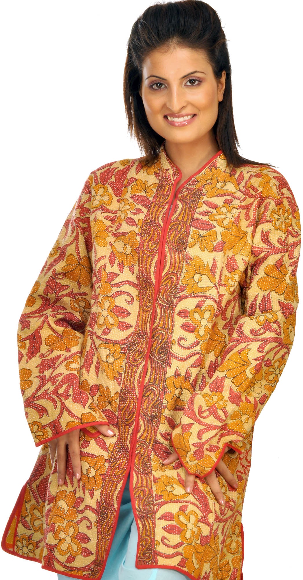 Fawn printed jacket from kolkata with kantha embroidery by