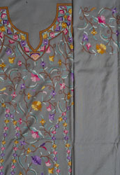 Flint-Gray Two-Piece Kashmiri Salwar Kameez Fabric with Multicolor Floral Ari Embroidery by Hand