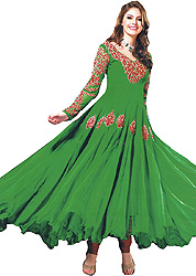 Fluorite-Green Anarkali Suit with Embroidered Sequins on Neck