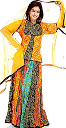 Multi-Color Ghagra Choli from Rajasthan with Mirrors and Chunri Print