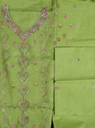 Foliage-Green Salwar Kameez Fabric with Kantha Embroidery by Hand