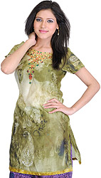 Gleam-Green Digital-Printed Kurti with Paisleys