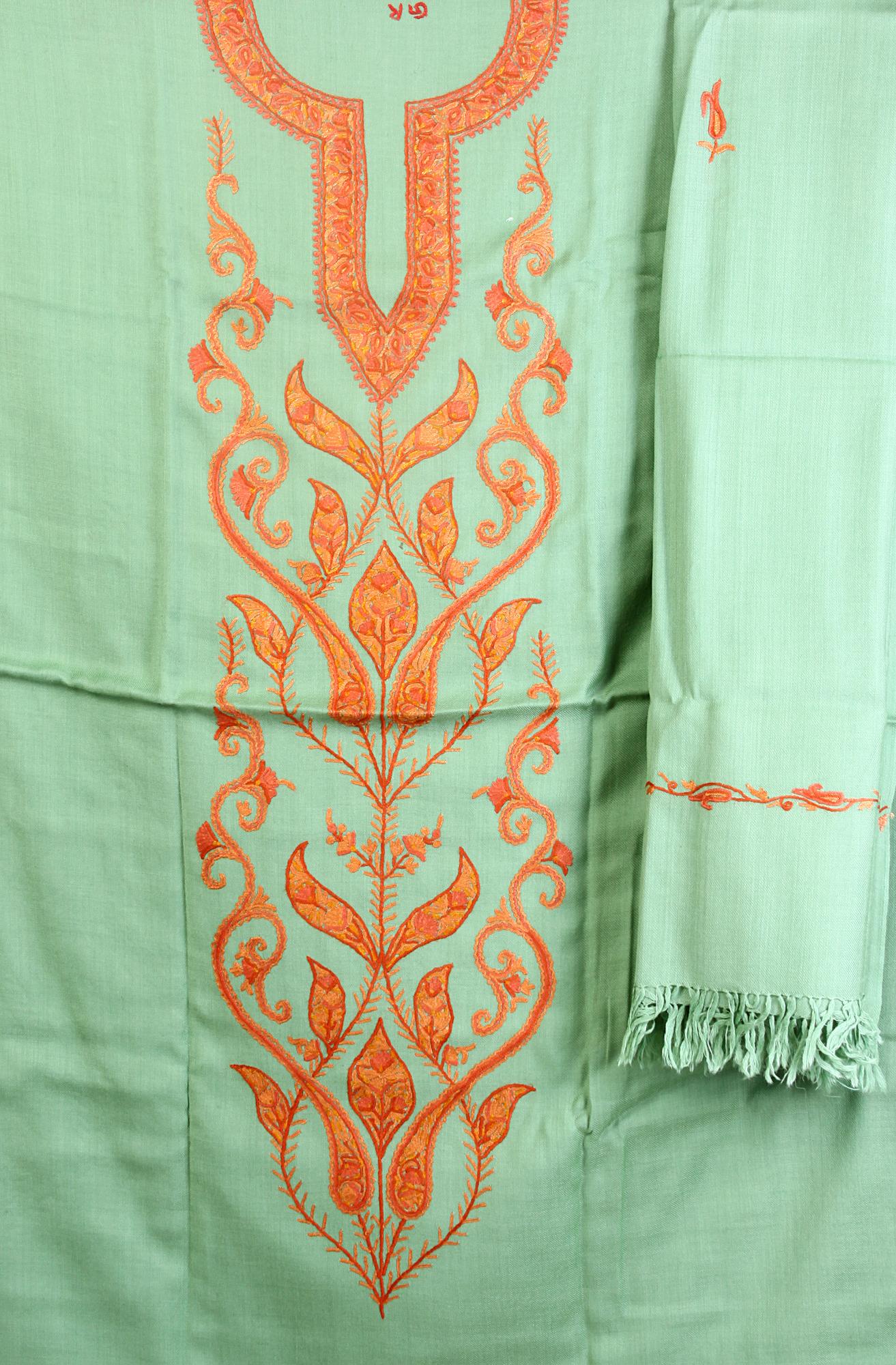 GrassGreen Salwar Kameez Fabric From Kashmir With Ari