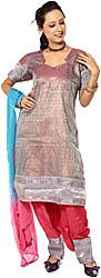 Gray and Magenta Brocaded Salwar Kameez Fabric with Mokaish Work