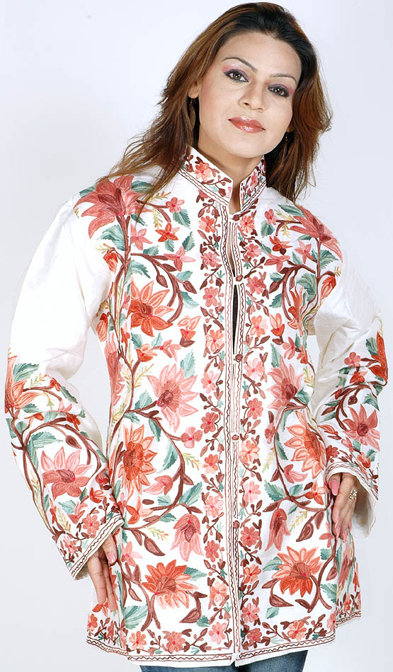 Ivory Crewel Embroidered Jacket From Kashmir