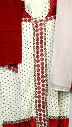Ivory Designer Salwar Kameez Suit with Velvet Applique and Embroidered Bootis