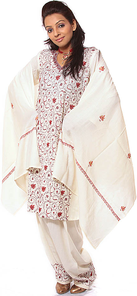 Ivory Kashmiri Salwar Kameez With Sozni Embroidery AllOver