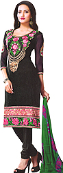 Jet-Black Choodidaar Kameez Suit with Floral Patch Embroidery on Neck and Border