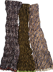 Lot of Three Crushed Ghagra Skirts Block-Printed with Vegetable Dyes and Patch Border