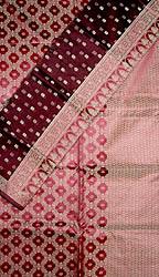 Burgundy Banarasi Kora Silk Suit with All-Over Thread Weave