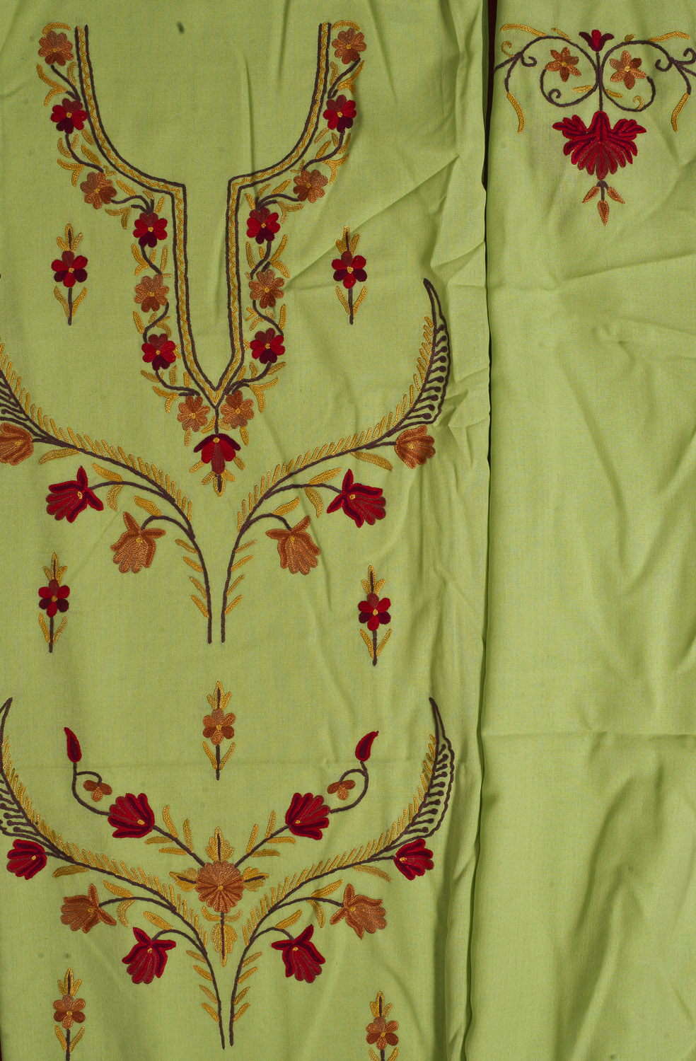 Lime green kashmiri salwar kameez fabric with floral ari