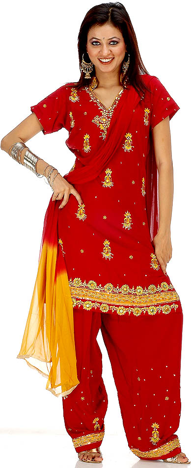 Maroon and amber salwar kameez with beads and large crystals for East indian jewelry online