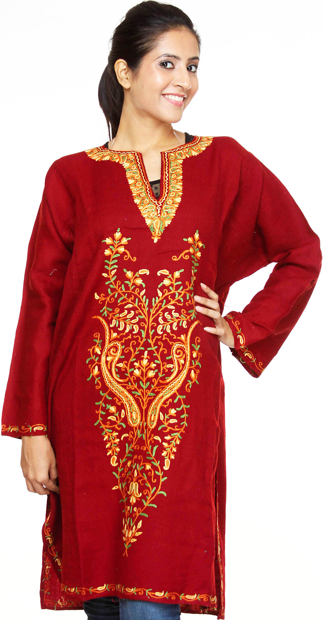 Maroon Kashmiri Phiran With Hand Embroidery On Front