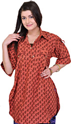 Mineral-Red Kurti with Block-printed Paisleys