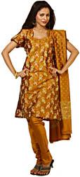Mustard Banarasi Salwar Kameez Suit Fabric with All-Over Woven Paisleys