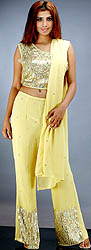 Olive Yellow Parallel Salwar Suit with a Heavily Beaded Choli