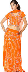 Orange Bridal Lehenga Choli with Beadwork and Sequins