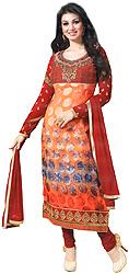 Orange-Rust Choodidaar Printed Kameez Suit with Embroidery on Neck