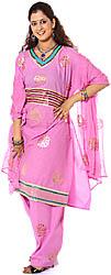 Pink Salwar Kameez Fabric with Painted Bootis and Gota Work