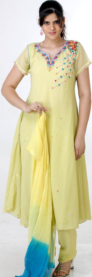powderyellow aline salwar kameez with sequins and kl99 A Line Shalwar Kameez