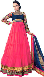 Raspberry Long Bridal Anarkali Suit with Floral Ari Embroidery and Velvet Bustier