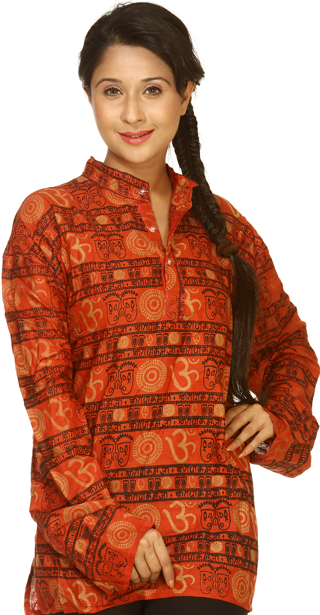 Red Kurti With Printed Om