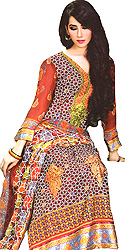Red-Mahogany Long Suit from Pakistan with Embroidery on Neck and Border