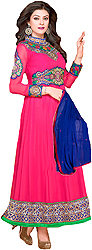 Rose-Red Anarkali Suit with Embroidered Patches on Neck and Border