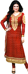 Scarlet-Red Choodidaar Ayesha Suit with Ari Embroidered Flowers on Neck and Woven Bootis