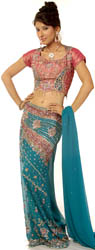 Turquoise and Pink Straight-Cut Lehenga Choli with Beadwork and Sequins All-Over