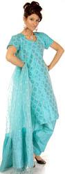 Azure Kora-Silk Banarasi Salwar Kameez