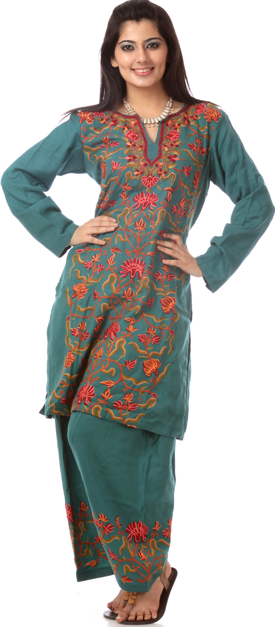 North sea green kashmiri salwar kameez with ari embroidery